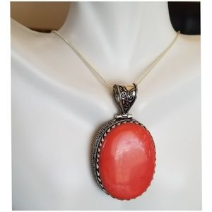 """Jewelry - HUGE Red Coral Pendant 2.5"""""""